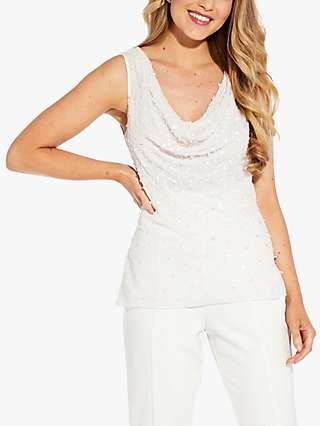 Adrianna Papell Beaded Shell Cowl Neck Top