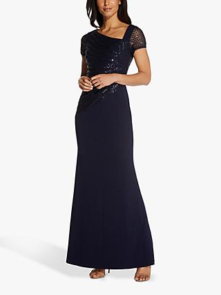 Adrianna Papell Sequin Crepe Maxi Dress, Midnight