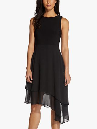 Adrianna Papell Jersey Chiffon Knee Length Dress, Black
