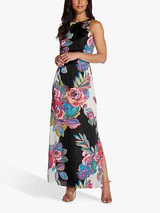 Adrianna Papell Bold Floral Maxi Dress, Black/Multi