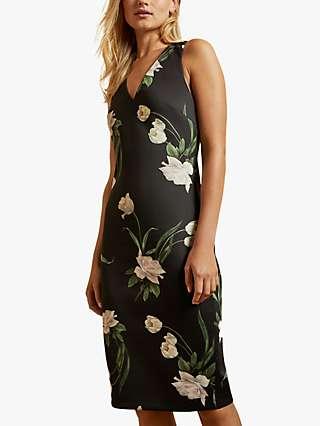 Ted Baker Eluria Floral Print Knee Length Dress, Black