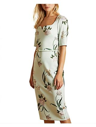Ted Baker Magieyy Floral Midi Dress, Green Mint