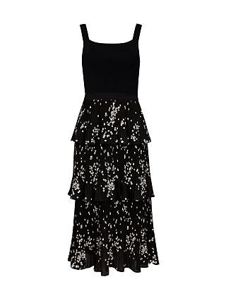 Ted Baker Betee Floral Print Tiered Dress, Black