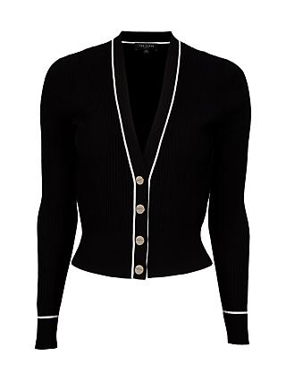 Ted Baker Frankyy Mid Length Contrast Piping Cardigan, Black