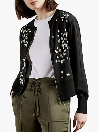 Ted Baker Priyaa Floral Embroidered Cardigan, Black