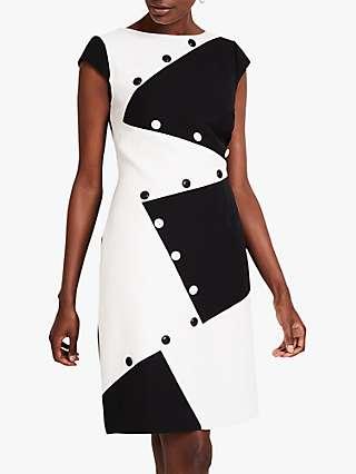 Damsel in a Dress Florice Colour Block Zig Zag Mini Dress, Black/White