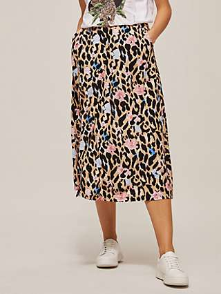 Somerset by Alice Temperley Floral Leopard Midi Skirt, Multi