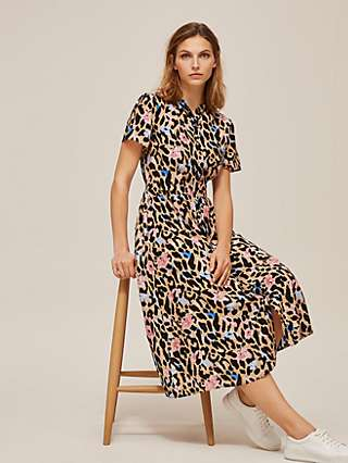Somerset by Alice Temperley Floral Leopard Shirt Dress, Multi