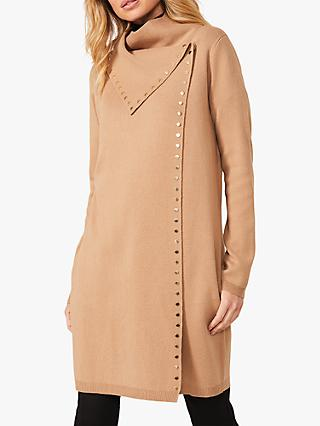 Phase Eight Paloma Studded Knit Coatigan, Camel