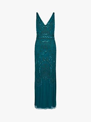 Monsoon Marisa Abstract Embellished Maxi Dress, Teal