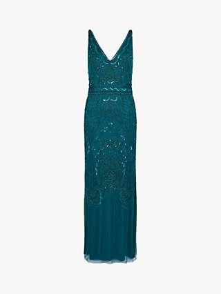Monsoon Marisa Abstract Embellished Maxi Dress, Teal