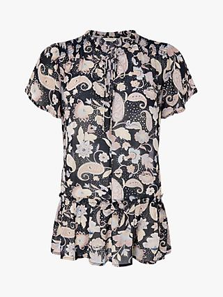 Monsoon Paisley Longline Top, Black