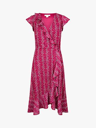 Monsoon Fergie Ruffle Wrap Floral Midi Dress, Pink