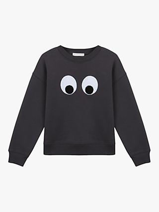 Mintie by Mint Velvet Girls' Big Eyes Jumper, Charcoal
