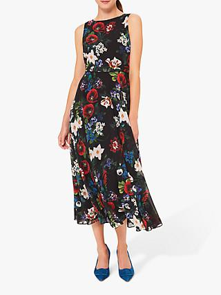 Hobbs Petite Carly Floral Dress, Black/Multi