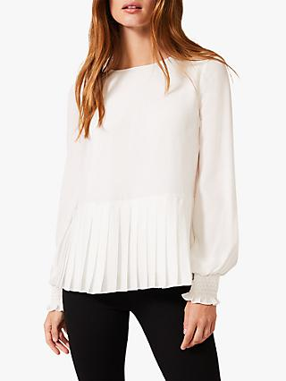 Phase Eight Thea Pleated Hem Blouse, White