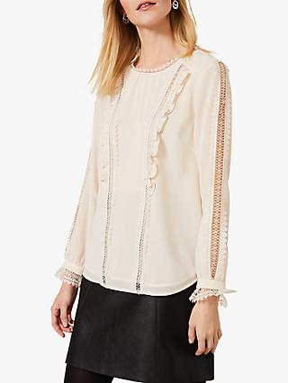 Phase Eight Lauren Lace Frill Blouse, Ivory
