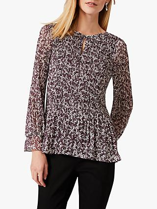Phase Eight Ella Disty Floral Print Blouse, Plum