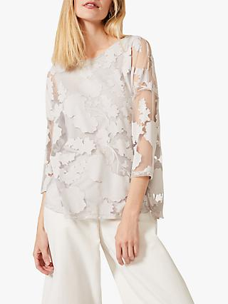 Phase Eight Michelle Floral Burnout Top, Soft Grey