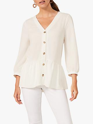 Phase Eight Tasha Button Through Peplum Hem Top, Ivory