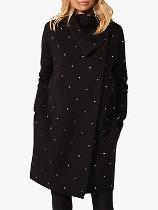 Phase Eight Paloma All-Over Stud Embellished Knit Coatigan, Black