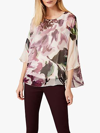 Phase Eight Peony Floral Print Silk Blouse, Plum