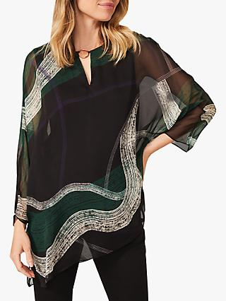 Phase Eight Alyssa Abstract Print Silk Blouse, Green/Black