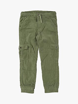 Polarn O. Pyret Children's GOTS Organic Cotton Corduroy Cargo Trousers, Green