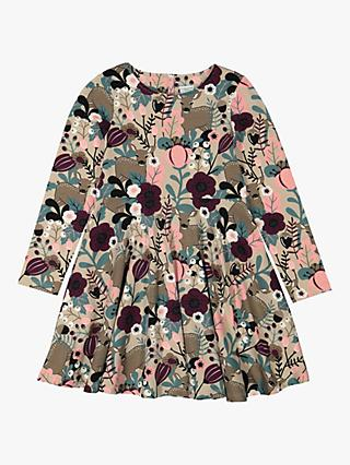 Polarn O. Pyret Children's GOTS Organic Cotton Nordic Nature Print Dress, Simply Taupe