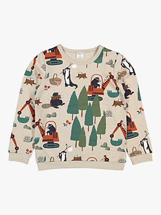 Polarn O. Pyret Children's GOTS Organic Cotton Forest Print Top, Neutral