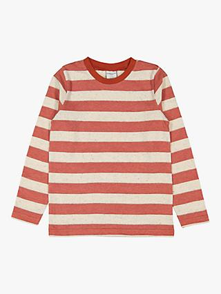 Polarn O. Pyret Children's GOTS Organic Cotton Block Stripe Long Sleeved Top, Red