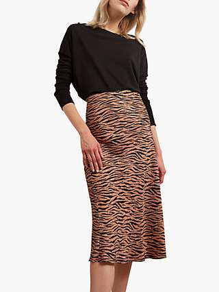 Gerard Darel Maria Zebra Midi Skirt, Camel