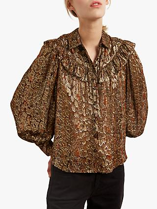 Gerard Darel Alizee Silk Blend Animal Print Blouse, Metallic