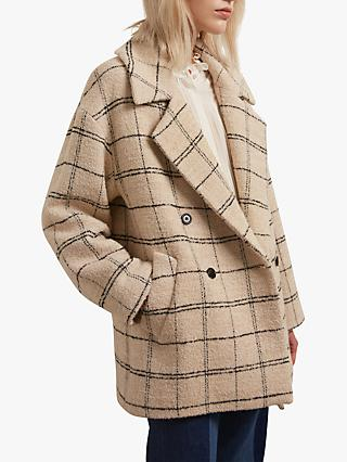 Gerard Darel Selia Recycled Wool Blend Check Coat, Neutral
