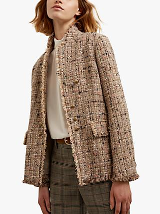 Gerard Darel Brunella Metallic Tweed Jacket, Beige