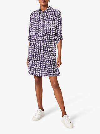 Phase Eight Ikat Houndstooth Print Shirt Dress, Purple/Ivory
