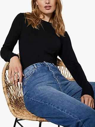 Mint Velvet Long Sleeved T-Shirt, Black