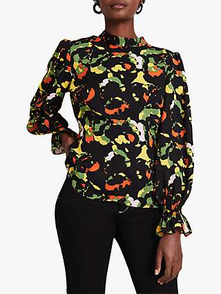 Damsel in a Dress Carine Floral Blouse, Black/Multi