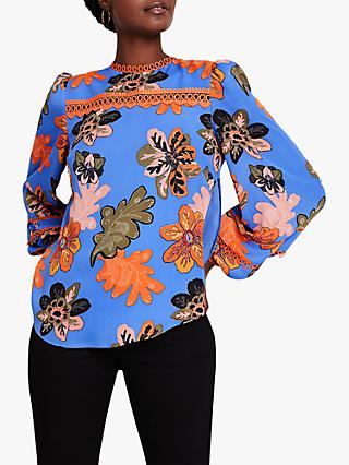 Damsel in a Dress Binx Floral Blouse, Blue/Multi