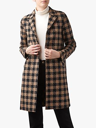 Harris Wharf London Boxy Oversized Gingham Coat, Brown/Multi