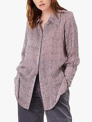 Brora Paint Check Long Line Shirt, Hawthorn/Lead