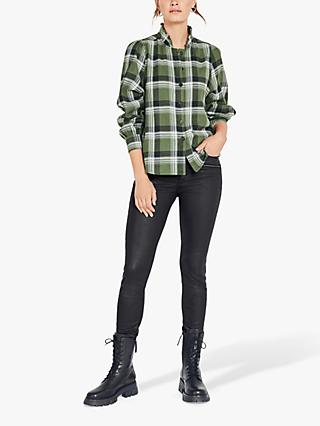 hush Maeva Frill Check Shirt, Green