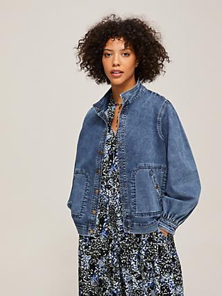 AND/OR Adele Denim Jacket, Mid Wash Blue