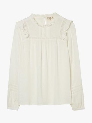 FatFace Jasmine Floral Embroidered Blouse, Ivory