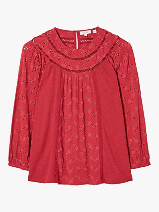 FatFace Maisey Embroidered Top, Claret