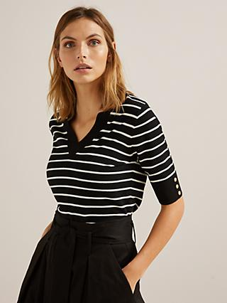 Somerset by Alice Temperley Sailor Knit Stripe Top, Black/White