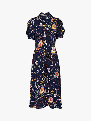 L.K. Bennett Bonham Floral Midi Dress, Blue/Multi