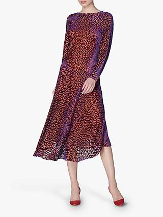 L.K.Bennett Bloomsbury Spot Midi Dress, Multi/Pink