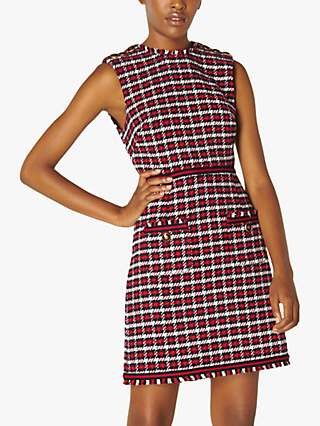 L.K.Bennett Therese Check Tweed Sleeveless Mini Dress, Red/Multi