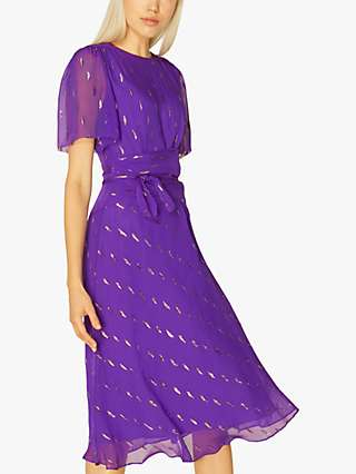 L.K.Bennett Eve Floral Embellished Midi Dress, Purple
